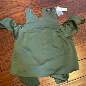 Olive Green Bebe Silk Blouse